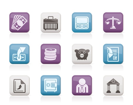 Bank, business and finance icons - vector icon set Stock Vector - 10003083