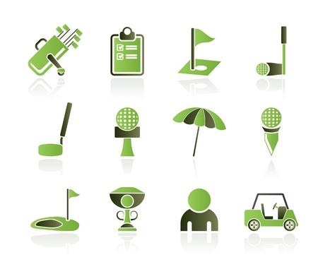 golf stick: golf y el deporte iconos - iconos conjunto de vectores