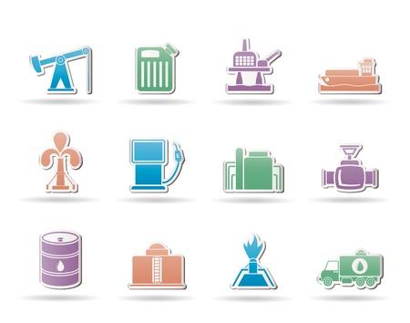 oliedrum: Olie- en benzineprijzen industrie pictogrammen  Stock Illustratie