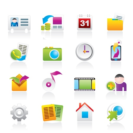 business networking: Mobile phone menu icons Illustration