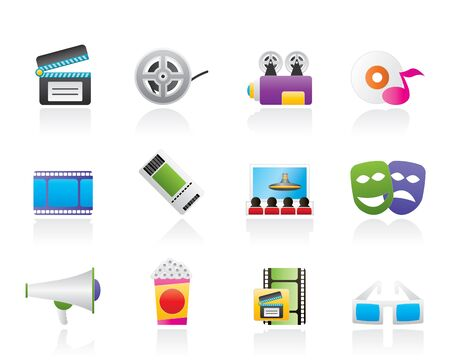blu ray: Movie theater and cinema icons  Illustration