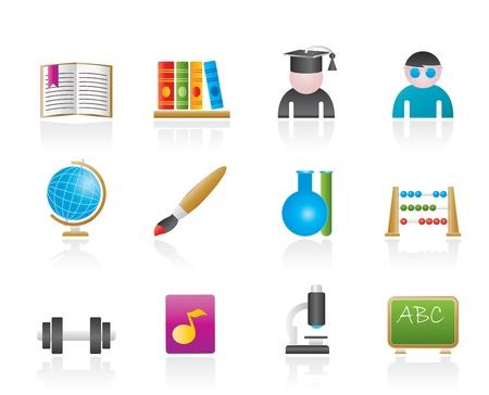 microscopy: school and education icons   Illustration