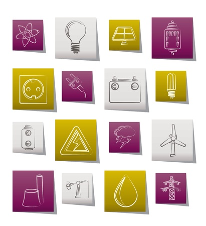 Power and electricity industry icons  Stock Vector - 10302330