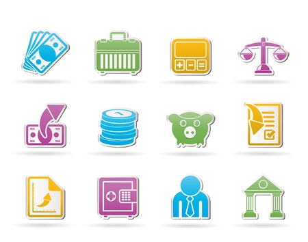 bill: Bank, business and finance icons  Illustration