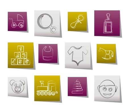 rammelaar: baby- en pictogrammen - vector icon set