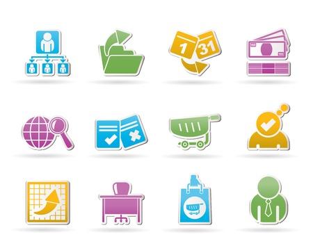 gestion documental: Negocios, administración y oficina iconos - conjunto de vectores icono