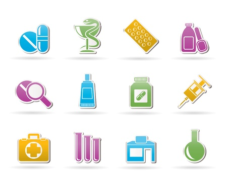 a snake in a bag: Pharmacy and Medical icons - vector icon set Illustration