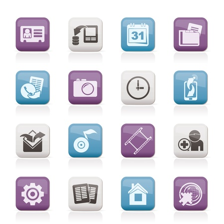 telecommunications industry: Mobile phone menu icons - vector icon set
