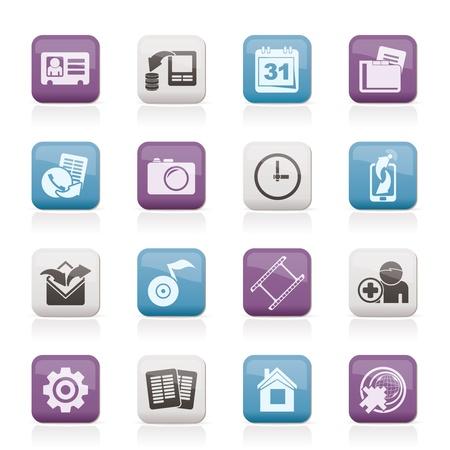 Mobile phone menu icons - vector icon set Stock Vector - 10377919