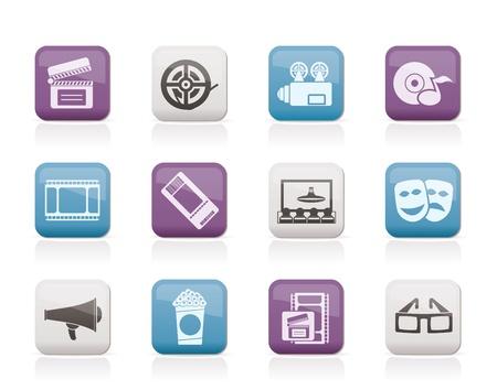 Movie theatre and cinema icons - vector icon set Stock Vector - 10377915
