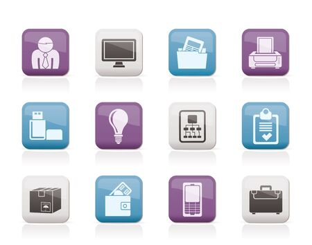 icon buttons: Business and office equipment icons - vector icon set