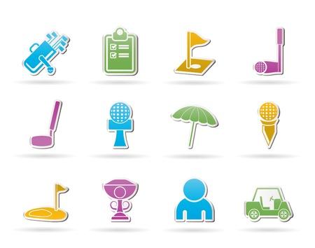 golf stick: conjunto de iconos de golf y deporte - vector icono