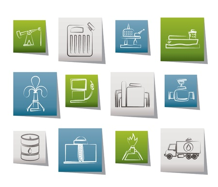 oliedrum: Olie-en benzine-industrie iconen - vector icon set