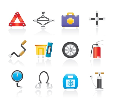 winter tire: car and transportation equipment icons - vector icon set