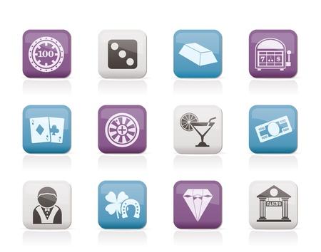 gambling chip: iconos de casinos y juegos de azar - conjunto de iconos vectoriales