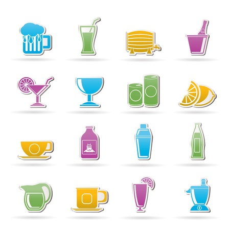 shakers: beverages and drink icons - vector  icon set