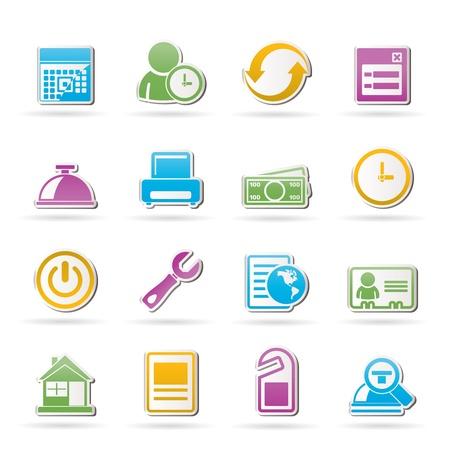 reservacion: iconos de reserva y hotel - conjunto de iconos vectoriales