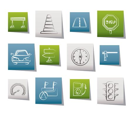 Road, navigation and traffic  icons - vector icon set Vector