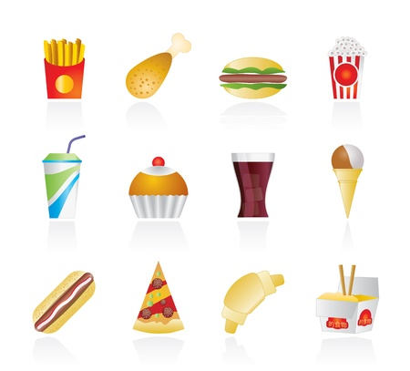 croissants: fast food and drink icons