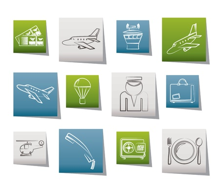 Airport and travel icons - vector icon set Stock Vector - 10446202
