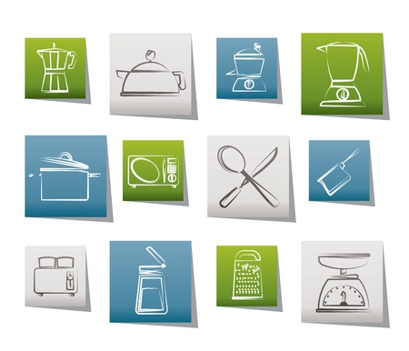preparing food: kitchen and household equipment icon - vector icon set Illustration