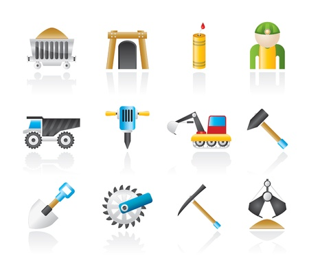 coal truck: Mining and quarrying industry objects and icons - vector icon set