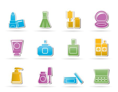 sunscreen: Cosmetic Industry and beauty icons - vector icon set