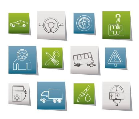 bus parking: car services and transportation icons - vector icon set Illustration