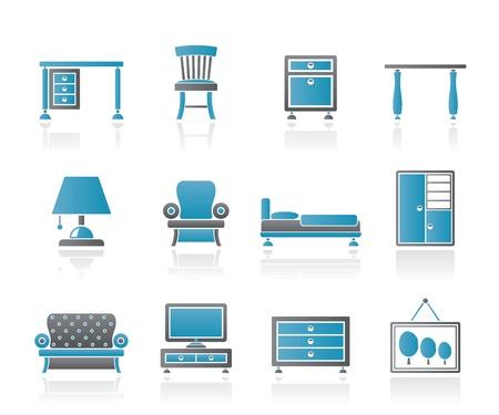 Iconos de mobiliario y equipo de casa - conjunto de iconos vectoriales