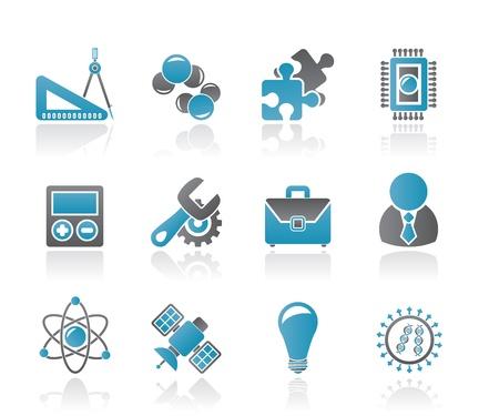 fizika: Tudomány és kutatás, ikonok - Vector Icon set Illusztráció