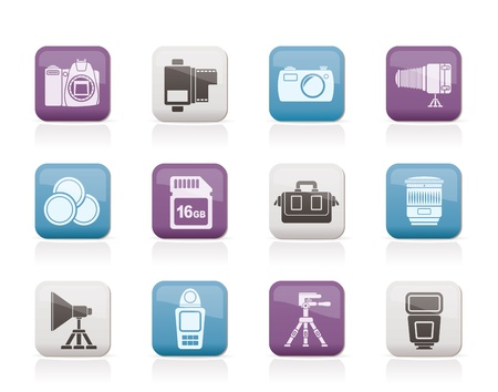 photography icon: Photography equipment and tools icons - vector icon set