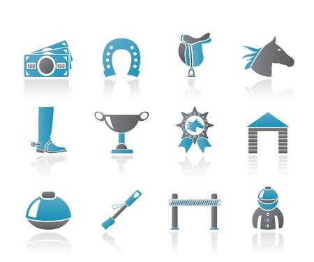 caballos corriendo: Caballo de carreras y juegos de azar iconos - conjunto de iconos vectoriales Vectores