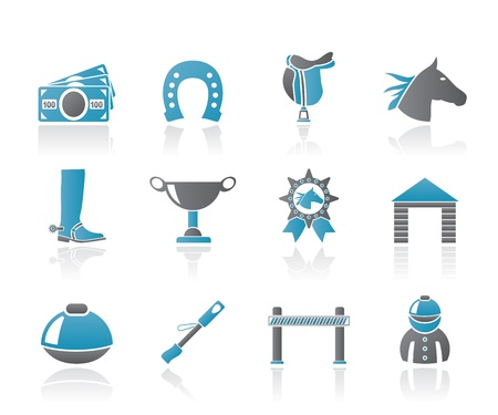 Horse Racing and gambling Icons - vector icon set Vector