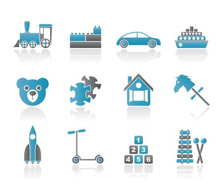 Different Kinds of Toys Icons - Vector Icon Set Stock Vector - 10554414