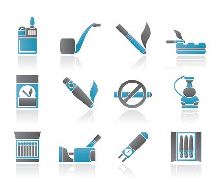 encendedores: Conjunto de iconos de cigarrillos y tabaco - vector icono
