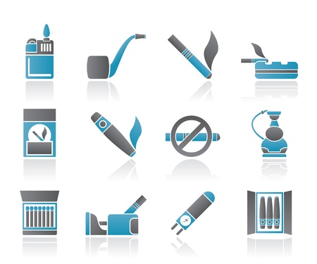 smoking pipe: Smoking and cigarette icons - vector icon set Illustration