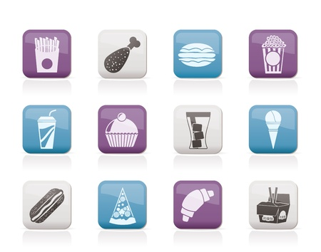 fast food and drink icons - vector icon set Stock Vector - 10554435