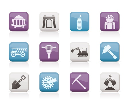 mining icons: Mining and quarrying industry objects and icons - vector icon set