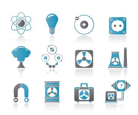 hidrógeno: Atómica y Energía Nuclear iconos - conjunto de iconos vectoriales Vectores