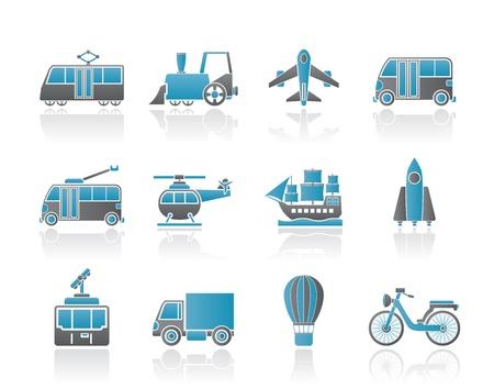 mode of transportation: Icone di viaggio e trasporto - set di icone vettore Vettoriali