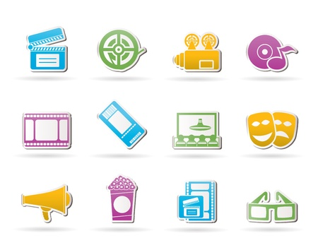 blu ray: Movie theater and cinema icons - vector icon set
