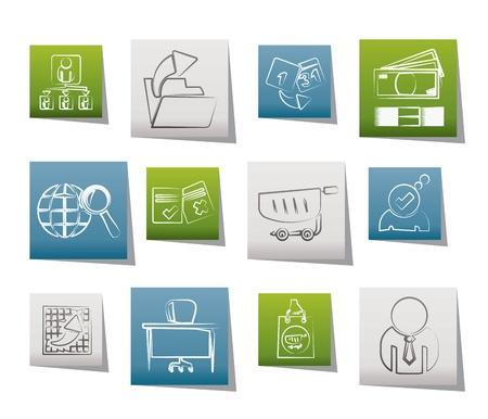 Negocios, Iconos gestión y Oficina - conjunto de iconos vectoriales Ilustración de vector