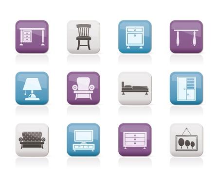 ladenkast: Thuis Uitrusting en meubilair iconen - vector icon set