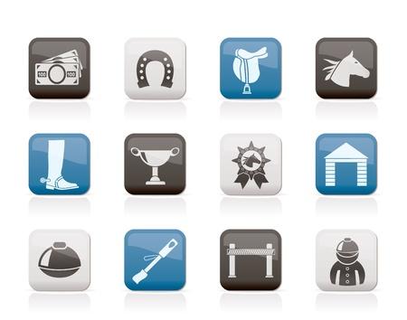 caballo corriendo: Caballo de carreras y juegos de azar iconos - conjunto de iconos vectoriales Vectores