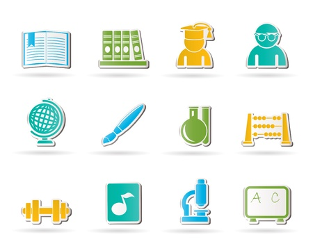 school and education icons - vector icon set Stock Vector - 10554419