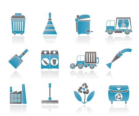 broom: Cleaning Industry and environment Icons - vector icon set