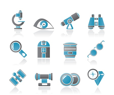 optic: Optic and lens equipment icons - vector icon set