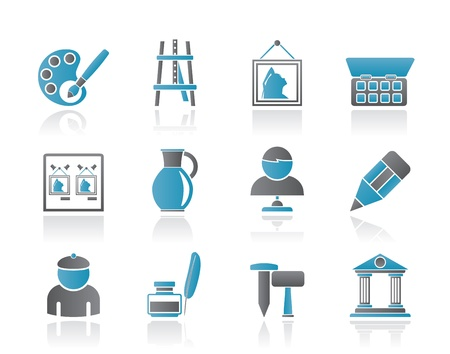 Fine art objects icons - vector icon set Vector