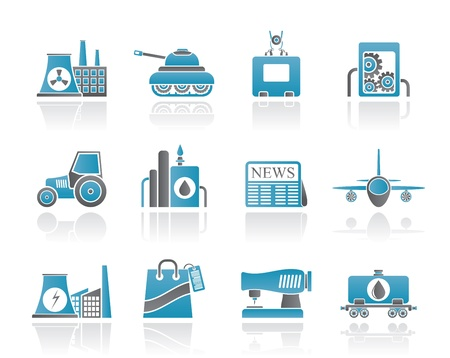 textile industry: Business and industry icons - vector icon set