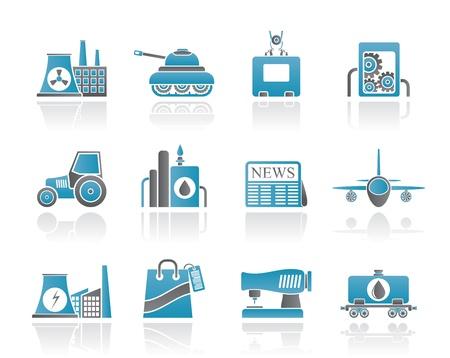 thermal power plant: Negocios y la industria iconos - conjunto de vectores icono